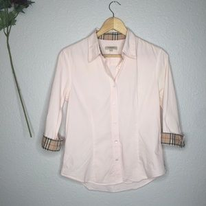 Burberry Light Pink Button Up Blouse S